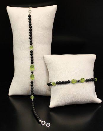 Lava and Oval Olivine Bracelet