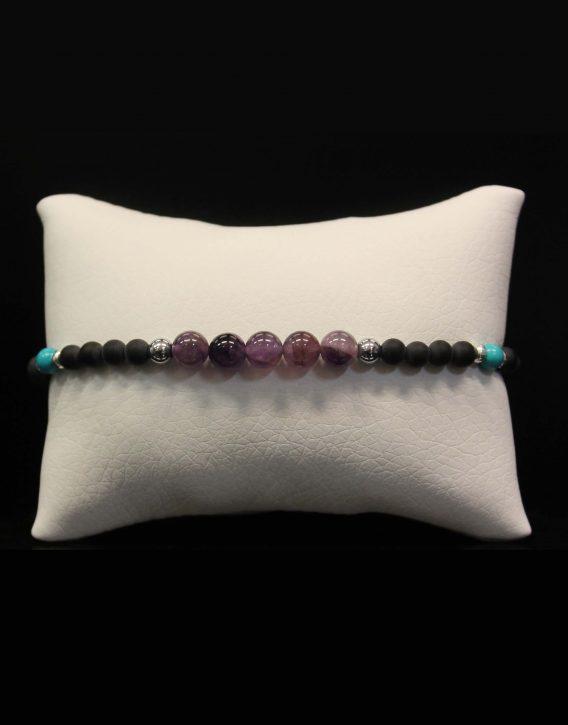 lava and purple agate bracelet