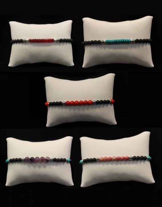 lava and semiprecious stones bracelets