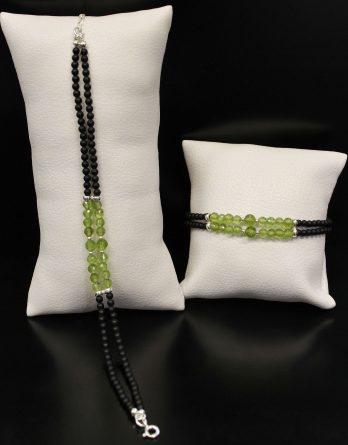 Double Row Lava and Olivine Bracelet