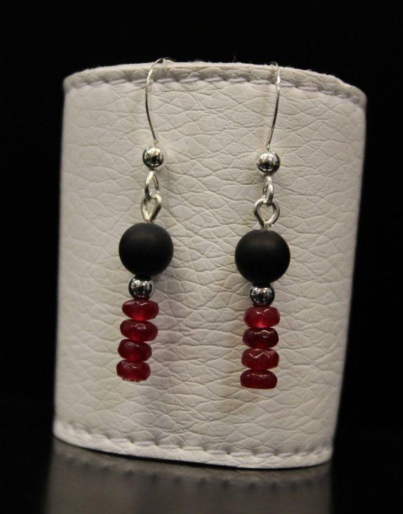 lava and deep red jade earrings