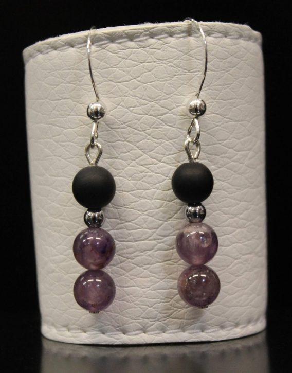lava and purple agate earrings
