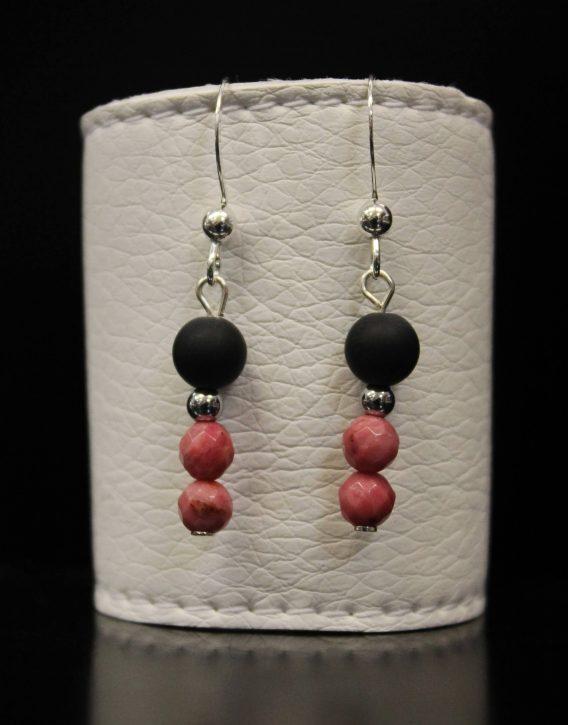 lava and rhodonite earrings