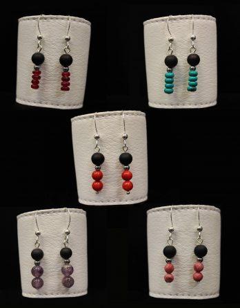 lava and semiprecious stones earrings