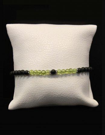 lava, olivine and flower beads bracelet