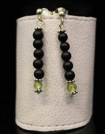 lava, olivine and flower beads earrings