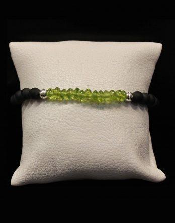 lava, olivine and round beads bracelet