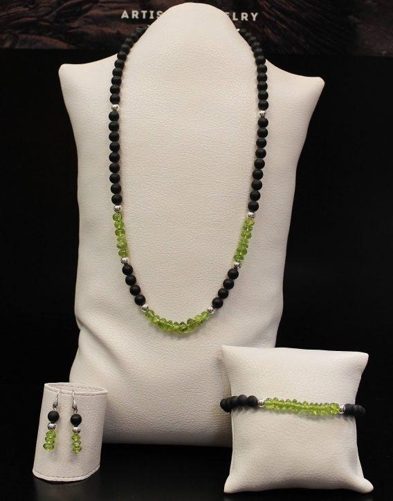 lava, olivine and round beads set