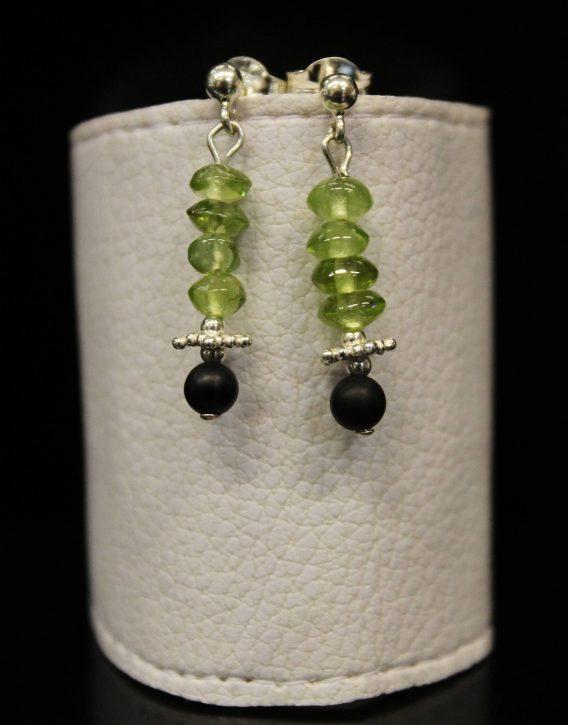 lava, olivine and star beads earrings