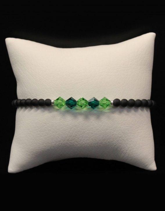 light green and dark green crystals bracelet