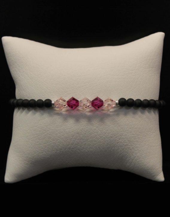 light pink and dark pink crystals bracelet